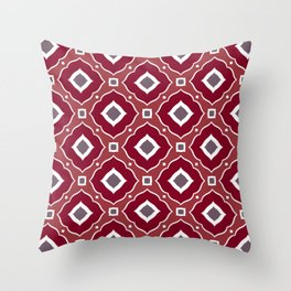 Moroccan style inspired burgundy and taupe pattern Throw Pillow