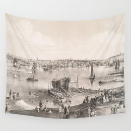 Vintage Pictorial Map of Portland ME (1855) Wall Tapestry