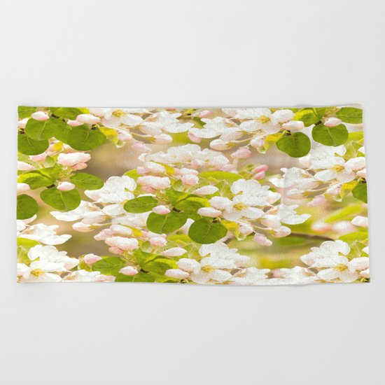 Apple tree branches with lovely flowers and buds on a pastel green background Beach Towel