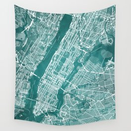 Turquoise Teal Wall Art Showing Manhattan New York City, Brooklyn and New Jersey Wall Tapestry