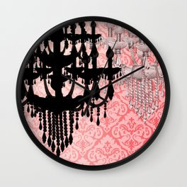 Glamorous Chandelier & Silhouette Damask Backdrop Wall Clock