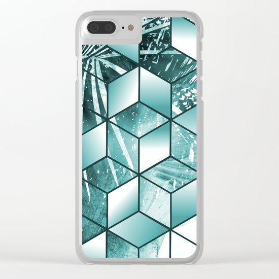 Tropical Cubic Effect Palm Leaves Design Clear iPhone Case