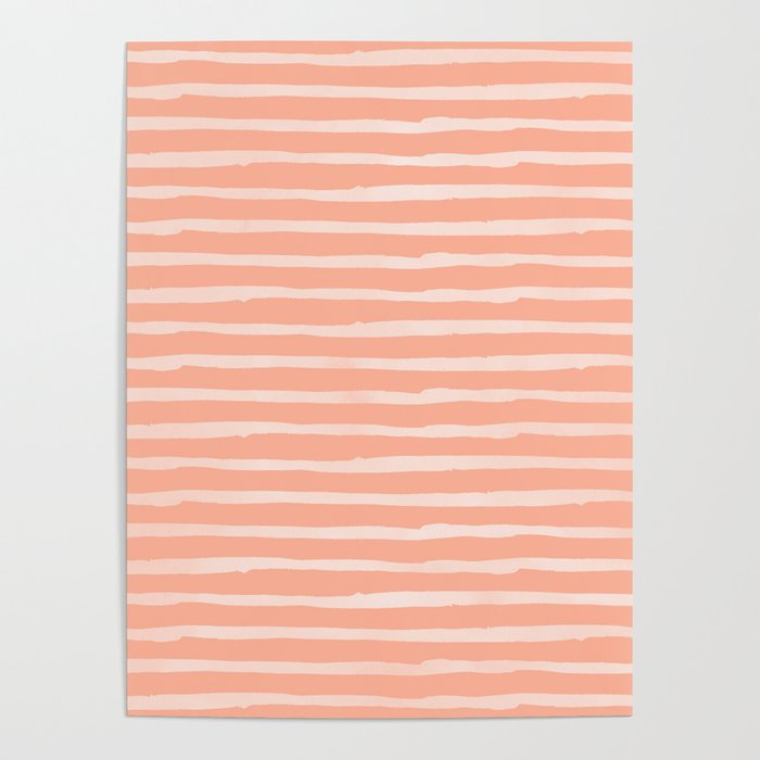 Sweet Life Thin Stripes Peach Coral Pink Poster
