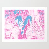 Psychedelic Wings, Pink & Blue Art Print