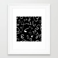 numbers Framed Art Prints featuring numbers by beautifyprints