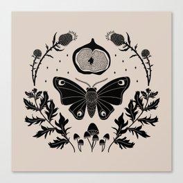 Moth, Mugwort & Mushrooms Canvas Print