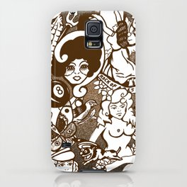 American Traditional Tattoo Collage (Brown) iPhone Case