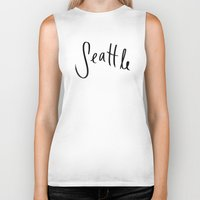 seattle Biker Tanks featuring Seattle by Leah Flores