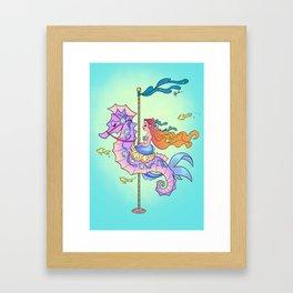 Mermaid on Carousel - Ink Version Framed Art Print