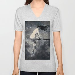 Galaxy Space Witch Departing for the Sabbat Nude  Unisex V-Neck