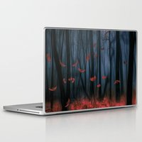 marine Laptop & iPad Skins featuring Red feather dance  (colour option) by Viviana Gonzalez