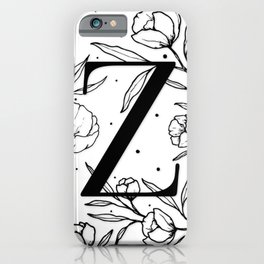 Black Letter Z Monogram / Initial Botanical Illustration iPhone Case