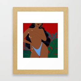 Handful // Woman, Femme, Feminine, Red, Black, Blue, Green, Plants Framed Art Print