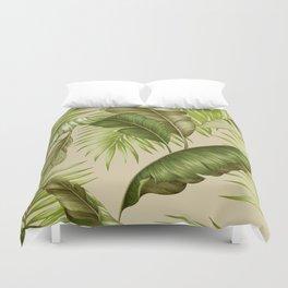 HAWAIIAN GARDEN TROPICAL LEAVES| green creme Duvet Cover