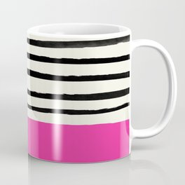 Bright Rose Pink x Stripes Coffee Mug