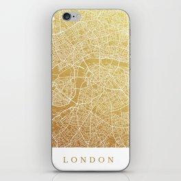 Gold London map iPhone Skin