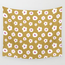 White and pink flowers in yellow Wall Tapestry