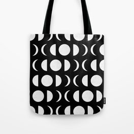 Phases of the Moon - White on Black Tote Bag