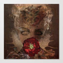 Lady with the red rose Canvas Print