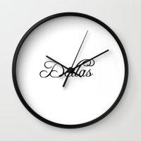 dallas Wall Clocks featuring Dallas by Blocks & Boroughs