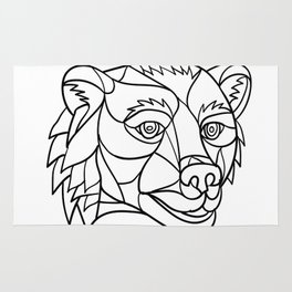 Grizzly Bear Head Mosaic Black and White Rug