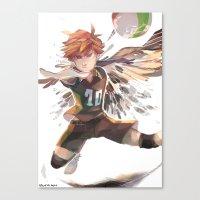 haikyuu Canvas Prints featuring haikyuu!! Hinata Shouyo print by Lawey