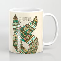 feathers Mugs featuring Soulmate Feathers by Pom Graphic Design
