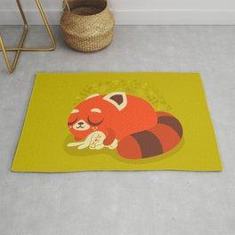 Sleeping Red Panda and Bunny / Cute Animals Rug