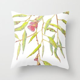 Flowering eucalyptus tree branch Throw Pillow