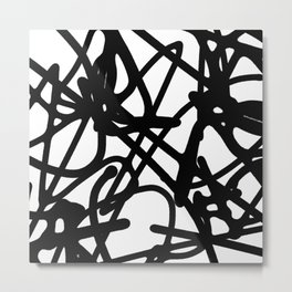 Meaningless - Black and white expressive painting Metal Print