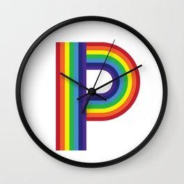 Rainbow Monogram - Letter P Wall Clock