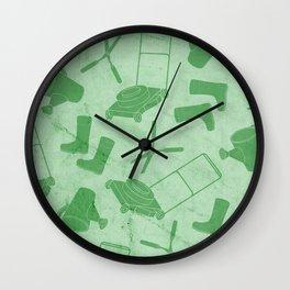 GARDEN TOOL KIT PATTERN Wall Clock