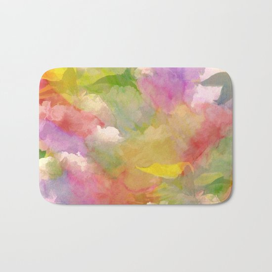 Rainbow Watercolor Floral Abstract Bath Mat