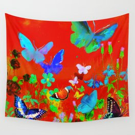 Red Butterflies & Flowers Wall Tapestry