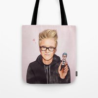tyler spangler Tote Bags featuring Tyler Oakley by The Art Of Dreams