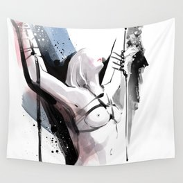 The beauty of tight binding, Naked body tied up to a pole, Nude art, Fine-art shibari rope bondage Wall Tapestry