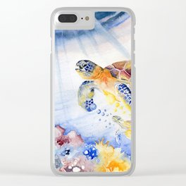 Going Up Sea Turtle Clear iPhone Case