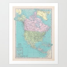 Vintage North America Map Art Print