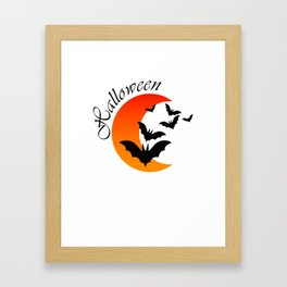 Blood bats and a bloody moon - Halloween  Design Framed Art Print