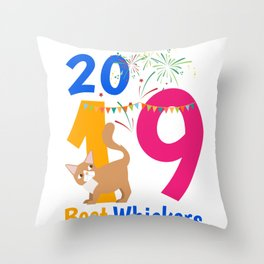 New Year's Eve 2019 Happy New Year Gift Cat Throw Pillow
