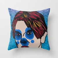 david bowie Throw Pillows featuring David Bowie by Arnaud Pagès