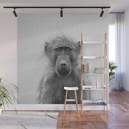 Baboon - Black & White Wall Mural