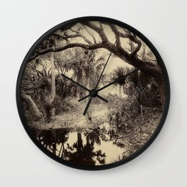 Live Oaks and Palmetto Everglades Florida 1886 Vintage Photo by George Barker Wall Clock