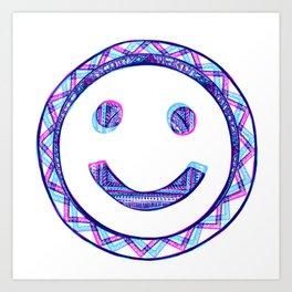 Purple Happy Face Art Print