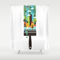 child Shower Curtains featuring Paint your world by Picomodi