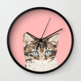 Kitten cutest pastel gift for valentines day cat pet friendly furry friend fur baby kittens animal Wall Clock