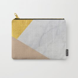 Carrara marble with gold and Pantone Hazelnut color Carry-All Pouch