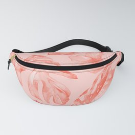Tropical Dream Palm Leaves Deep Pink Fanny Pack