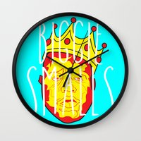 biggie smalls Wall Clocks featuring Biggie Smalls by Hussein Ibrahim