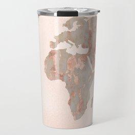 Rosegold Marble Map of the World Travel Mug